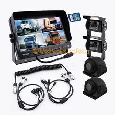 """4AV TRAILER CABLE 7"""" MONITOR WITH DVR BACKUP SYSTEM SAFETY REAR VIEW CAMERA KIT"""