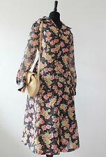 1970s Vintage Midi Dress Floral Big Collar MOD Retro 70s Long Sleeve Scooter M
