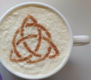 2 x Triquetra coffee cup stencil reusable Pagan festival  gothic Christian cafe