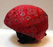 Ski & Sport Helmet cover by Shellskin. Red Bandana print Spandex. 1 Size