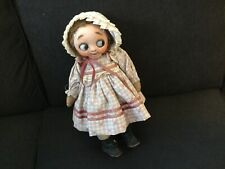 """Googly glass eye """"Hug Me Kid"""" Rare, jointed antique cloth body original outfit"""