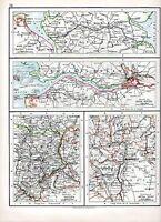1897 Victoriano Mapa ~ Nord Ostee Báltico Canal Boca Elbe River Vienna Buda-Pest