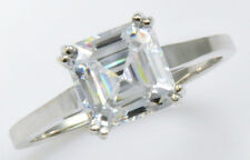 3 ct Asscher Ring Top Brilliant CZ Imitation Moissanite Simulant S Silver Sz 9