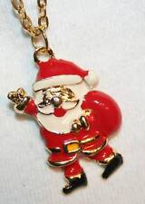 Delightful Red Enameled Phister Santa Claus Necklace