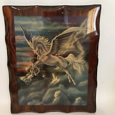Vintage Pegasus Plaque Picture Sue Dawe 1980 Lacquer 10 X 12 Horse