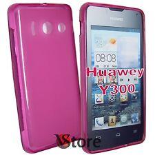 Cover Custodia Per Huawei Ascend Y300 Silicone Gel Fucsia Retro Opaco