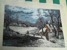 HAND MADE NEVE foto di scena Arazzo GOBLEN, muro da appendere, completo, ricami
