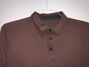 Lululemon Evolution Polo Large Pelt Brown Short Sleeve