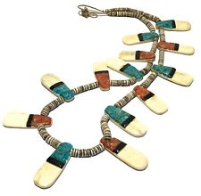 VINTAGE NATIVE SPINEY OYSTER TURQUOISE CORAL MOSAIC & JET BAND HESHI NECKLACE