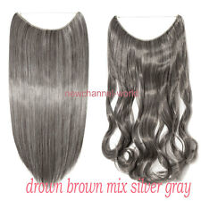 US Real as Human Elastic Wire Hair Piece One Piece Hair Extensions Blonde Brown