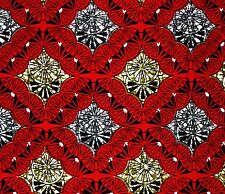African Fabric 1/2 Yard Cotton Wax Print RED GRAY BEIGE BLACK Abstract