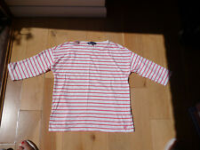 Ladies Crew Clothing Dropped Shoulder T Shirt Size 12 Coral/White Stripes