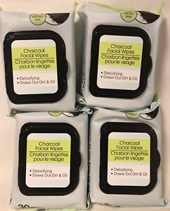 Charcoal Facial Wipes, Detoxifying, Draws Out Dirt & Oil, Lot Of 4 (120 Wipes)
