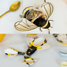 Ceramic Busy Bee Measuring Spoons Tea Tidy Spoon Rest Kitchen Tool Gadget Set