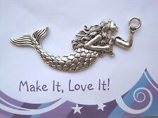 1 x LARGE MERMAID GIRL Nautical ANTIQUE SILVER Charm Pendant 75mm x 30mm Fish
