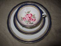 Vtg Royal Grafton fine bone china tea cup saucer plate trio, blue rim pink roses