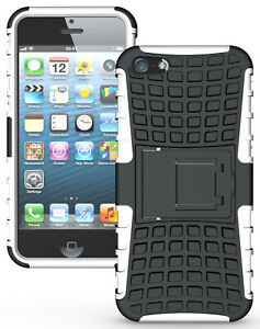 WHITE GRENADE GRIP RUGGED SKIN HARD CASE COVER STAND FOR iPHONE 5 5s SE (2016)