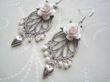 Heart Flowers & Plants Drop/Dangle Costume Earrings