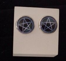 Pentegram Pentagram Star Glass Cabochon Earrings Stud SP Supernatural Wicca