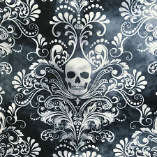 Skulls gothic Wicked fabric Halloween goth charcoal grey horror cotton or jersey