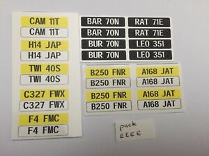 1/18 scale Modified Tuning Regs (pack EEEE) these are waterslide decals