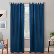 Denim Tab Top Curtains For Bedroom 2 Pc kitchen Drapes Sheer Curtain Blue