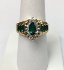 10K Yellow Gold Synthetic Marquise Emerald Ring Halo Of CZ's Size 6.5