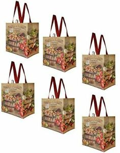 Earthwise Reusable Grocery Shopping Bags Extremely Durable Multi Use ( 6 Pack )