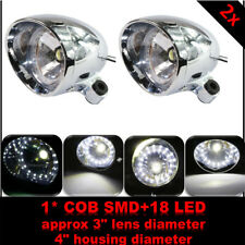 Pair Universal Motorcycle Chrome Driving Passing Front Fog Head Lamp LED Light