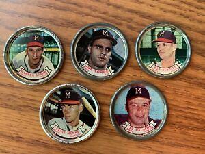 Milwaukee Braves Topps 1964 Coins Spahn, Torre, Menke, Hendley, Mathews