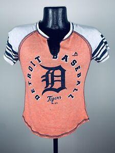 Womens's Majestic Detroit Tigers Orange More Than Enough V-Neck Tee Shirt Medium