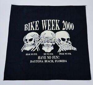 Mens Bandana Motorcycle Rally Skull Skeleton Black White Daytona Beach 2000