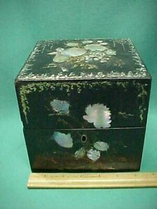 Antique 1800's Victorian Vanity Papier Mache & Mother of Pearl Perfume Scent Box
