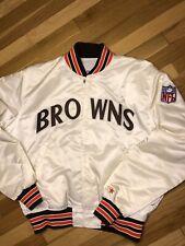 RARE Vtg 80s Cleveland Browns Starter Satin Jacket NFL Mens Large White Retro