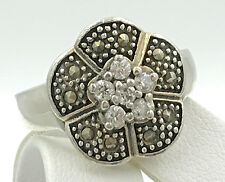 Vintage .925 Sterling Silver, Cubic Zirconia & Marcasite Floral Ring, Size 6.75