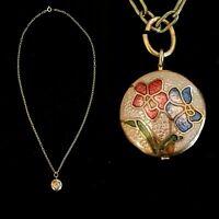 Vintage Cloisonn\u00e9 Gold Tone Enamel Puffy Double Sided Peacock Bird Pendant Necklace