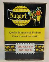 LARGE 1950s GOLD MINING GOLD NUGGET GRAPHIC SPICE TIN LITHO STOCKTON CALIFORNIA