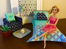 Handmade Barbie Doll Bedroom Furniture Bed/Bedding Set/Sofa/Lamp/Blanket-Pillows