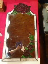 A bespoke Art Nouveau Tiffany stained glass leaded 48x88cm Rose mirror