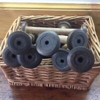 "Vintage Wooden Industrial Textile Bobbin Spool Cotton Reel Factory x6 Old   7""H"