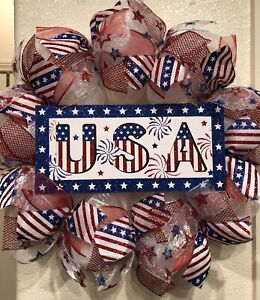 Patriotic USA Deco Mesh 4TH OF JULY 🎆 Wreath RED WHITE BLUE STARS & STRIPES
