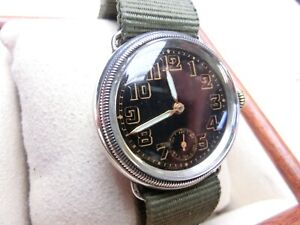 VINTAGE BUREN DENNISON WATCH CASE Co. Sterling Silver Trench Military Wristwatch