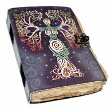 "NEW Tree Goddess Aged Paper Leather Journal 5x7"" w/ Latch Closure Nature Pagan"
