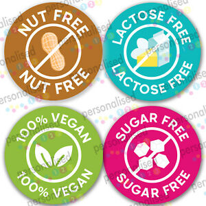 Food Allergy Stickers Nuts Free Labels Vegan Tags No Lactose Sugar Catering Tags