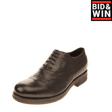Rrp €150 Le Ruemarcel Leather Oxford Shoes Eu41 Uk7 Us8 Brogue Handmade in Italy