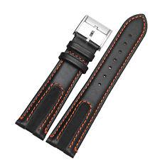 21mm Black Leather Automatic Watch Strap Band Orange Stitching Mens Wristaband