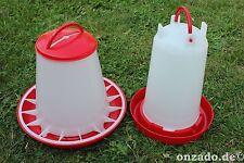 3 kg Futterautomat und 3 L Stülptränke Hühner Tränke Futterspender Fasane Hahn