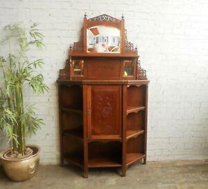 Antique Victorian Edwardian Mahogany Sideboard Vitrine Mirror Back Shelf Cabinet