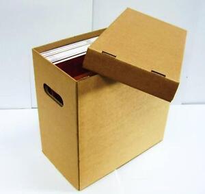 "3 x 12"" Vinyl Record Storage Cardboard Archive Box - Hold 50 LPs/70 12"" Singles"