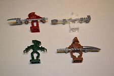 LEGO Bionicle - 4 Bionicle Minifigs & Weapons Lot Red Green White Brown CTE